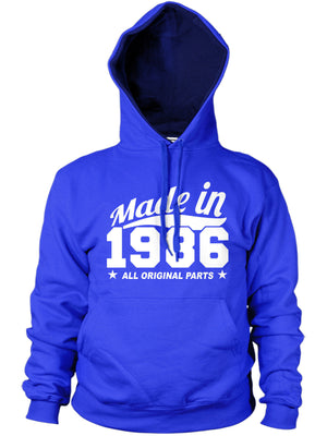 MADE IN 1986 ALL ORIGINAL PARTS HOODIE MENS WOMENS FAMILY FUNNY GIFT 80S PRESENT