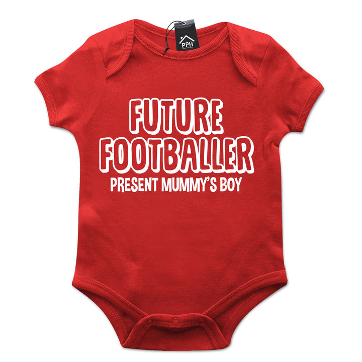 Future FOOTBALLER Present Mummys Boy Babygrow Gift Baby Grow Suit New Born B15