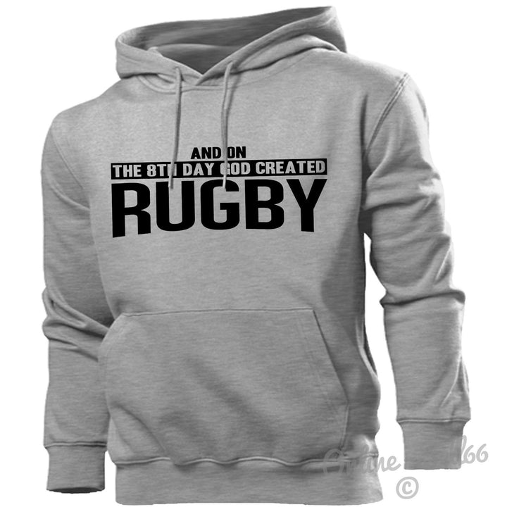 And On The 8 th Day God Created Rugby Hoodie Men Women Rugger Scrums Training , Main Colour Sport Grey