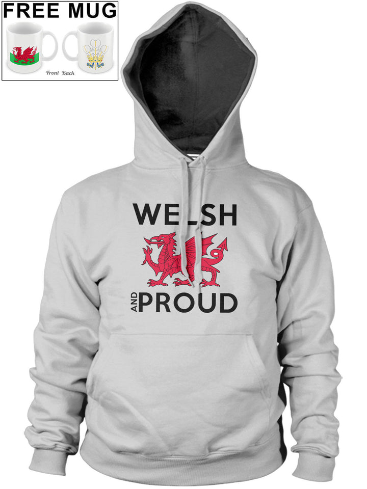 Welsh and Proud Womens Mens Wales Cymru Hoody Dragon Rugby Hoodie *FREE MUG* 3