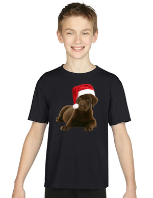 Children's Labrador Puppy Christmas Hat T Shirt Kids Boys Girls Novelty Gift