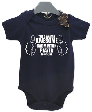 Awesome Badminton Player Gift Baby Grow Birthday Present Unisex Play Suit Cute
