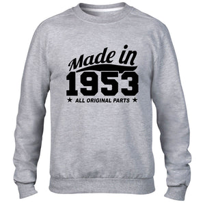 MADE IN 1953 ALL ORIGINAL PARTS SWEATER FAMILY BIRTHDAY PRESENT FUNNY
