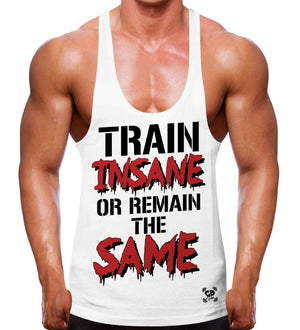 TRAIN INSANE OR REMAIN THE SAME STRINGER VEST TRAINING GYM BODYBUILDING TOP MEN