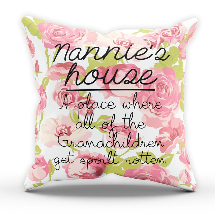 Nannie's House Cushion Pillow Mother Mum Present Gift Novelty Grandchildren Nan