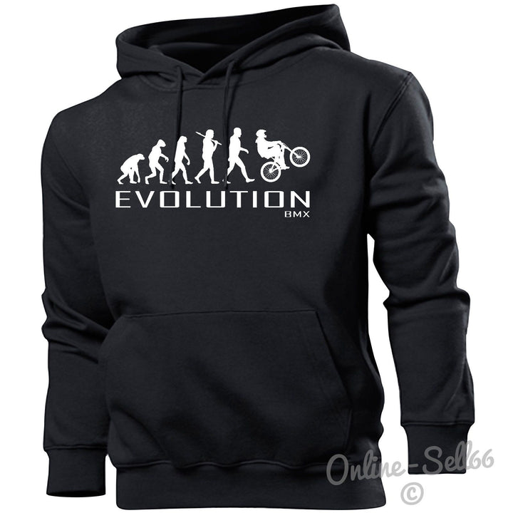 BMX Evolution Hoodie Mens Womens Kids Sports Bike Stunt Skate Park Boys Present, Main Colour Black