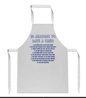 10 Reasons To Date A Chef Apron Funny Joke Rude Innuendo Gift Present Mens