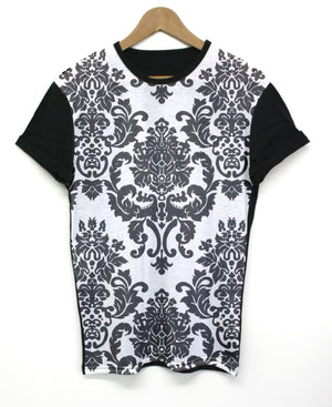 Demask Monochrome Black All Over T Shirt Pattern Floral Wallpaper Mens Womens