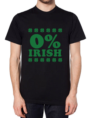 0% Irish T Shirt St Patricks Day Funny Outfit Top Men Women Percent Irish Paddy, Main Colour Black