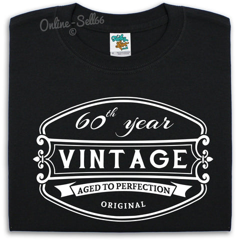 Image of 60th Vintage Birthday Mens T Shirt 60 - 64 year Gift Present Bday Grandad Fun , Main Colour Black