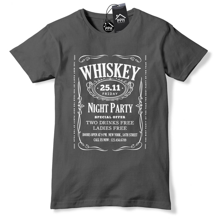 Whiskey Night Party T Shirt Mens Drink Tee Fathers Day Gift Tshrit Top Jack 542