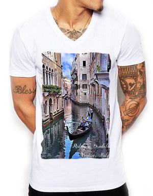 Riding A Gondola Distinkt Youth V Neck T Shirt Top Mens Fitted Summer EDY14