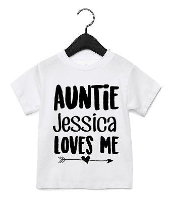 6b168b512df4f Auntie CUSTOM NAME Loves Me T Shirt Tops Children's Kids Cute Niece Nephew  AS45 - The Clothing Shed