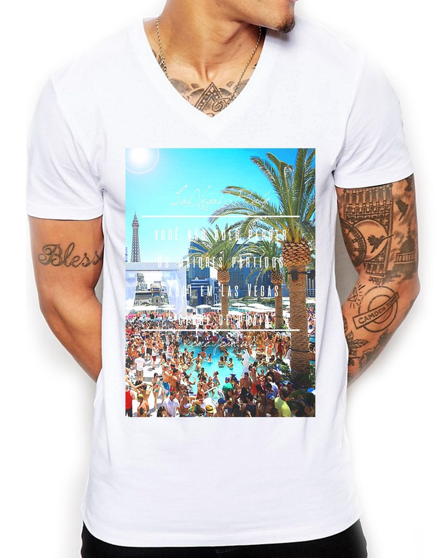 Las Vegas Baby Distinkt Youth V Neck T Shirt Top Mens Hipster Fitted Summer EDY8