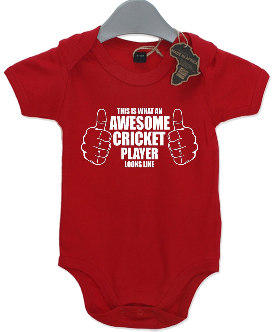 Awesome Cricket Player Gift Baby Grow Present Sport Boy Unisex Play Suit Cute