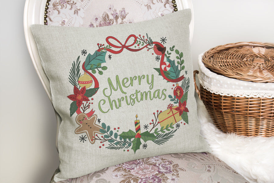 Merry Christmas Wreath Cushion Cover Pillow Insert Santa Noel Home Decor ST47
