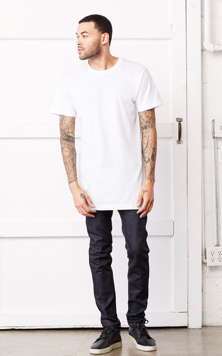 LONGLINE Cotton T shirt Oversized Mens TShirt Plain Canvas Retail Fit Tee TopCot