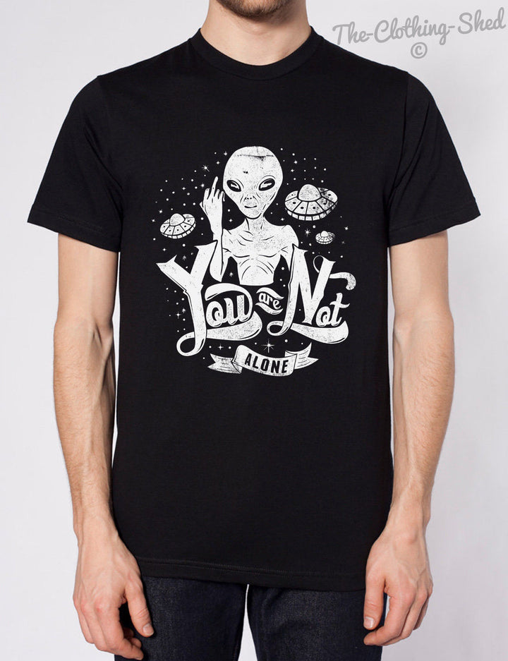 YOU ARE NOT ALONE TSHIRT MENS WOMENS KIDS FUNNY ALIEN UFO SPACE COOL HIPSTER TEE, Main Colour Black