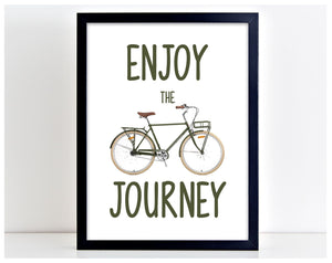 Enjoy The Journey Travel Bike Vintage Retro Picture Word Poster Print Gift PP26