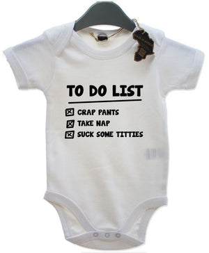To Do List BabyGrow Newborn Playsuit Gift Vest Funny Baby Grow Birthday Present
