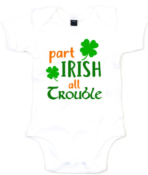 Part Irish All Trouble Baby Grow St Patrick Day Ireland Baby Outfit Clothes L194