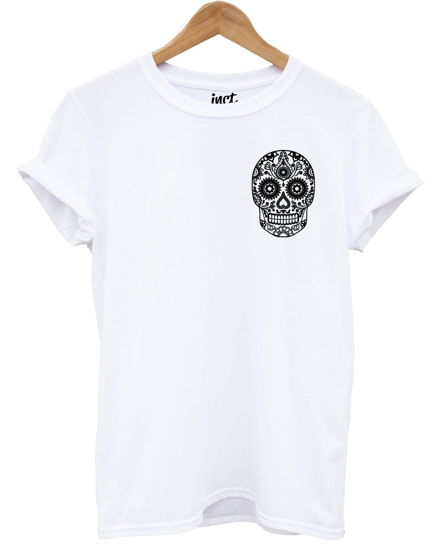 Candy Black Skull White T Shirt Fashion Tee Swag Urban Fresh Mexico Style