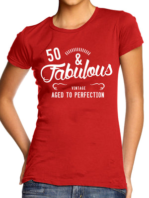 Fabulous and 50 Fifty Birthday T Shirt Mothers Day Granma Nan Present Top Womens