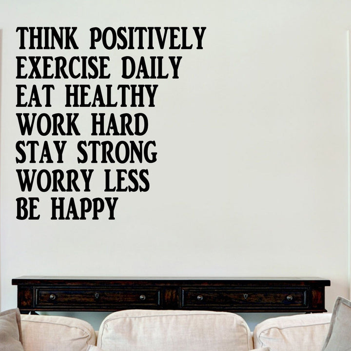 Think Positively Inspirational Sticker Vinyl Decal Decors Wall Quotes Lounge