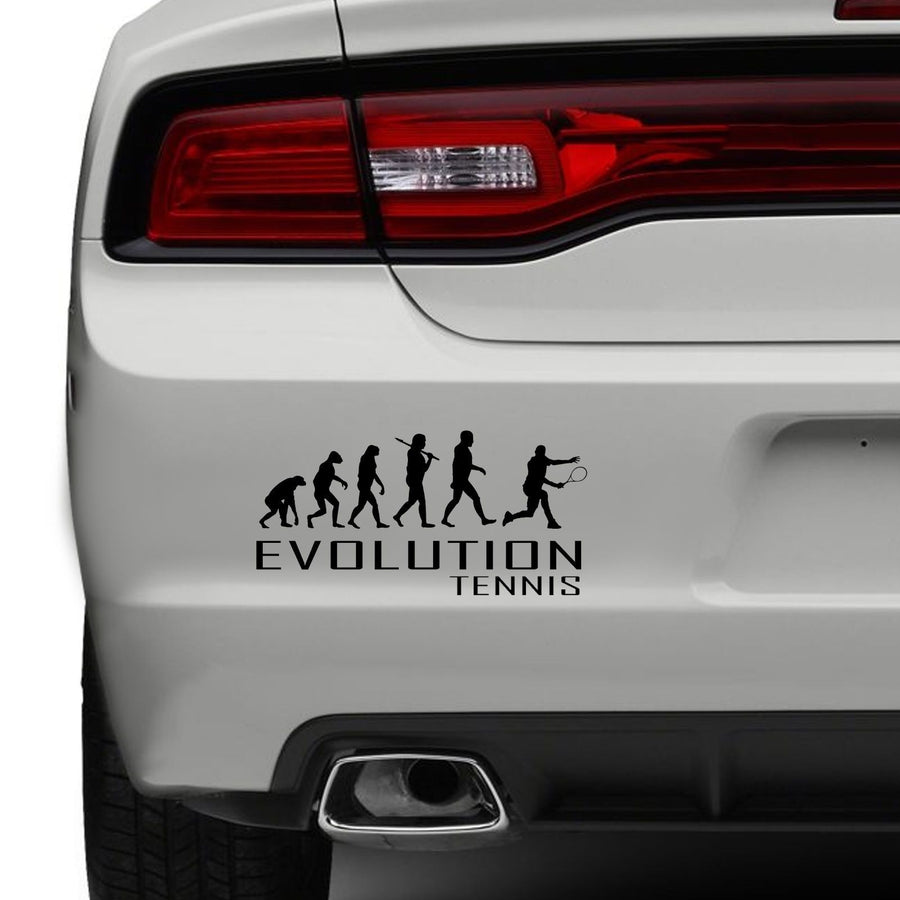 Evolution Of Tennis Car Bumper Sticker Sport Court Raquet Funny Vinyl Window