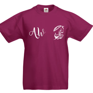 Personalised Equestrian T-Shirt Girls Horse Riding Tshirt with Initials Kid L154