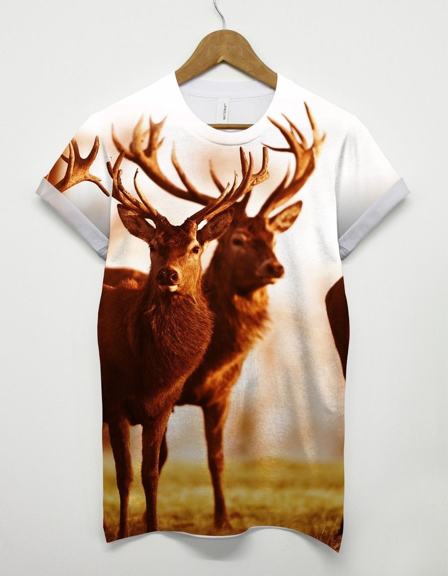 Reindeer All Over T Shirt Christmas Mens Womens Present Retro Tumblr Gift Santa