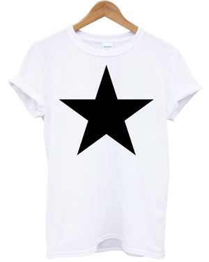 Star T shirt Mens Womens Hipster Top Indie Hippie Monochrome Black