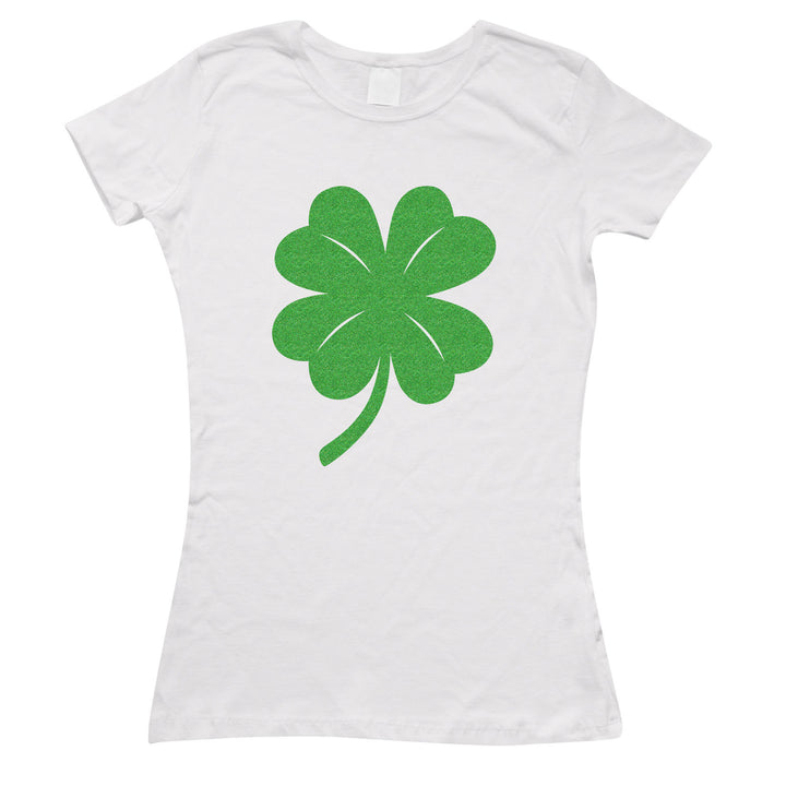 Green Glitter Shamrock T-Shirt St Patricks Day Womens Top Party Shirt Kids L193