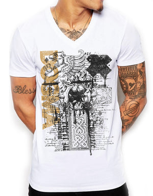 Distinkt Youth Dogma Deep V Neck Mens T Shirt Ancient Fashion Top Muscle Fit 786
