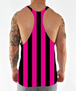 Pink Retro Stripe Stringer Vest Bodybuilding 90's Vintage Training Workout Men