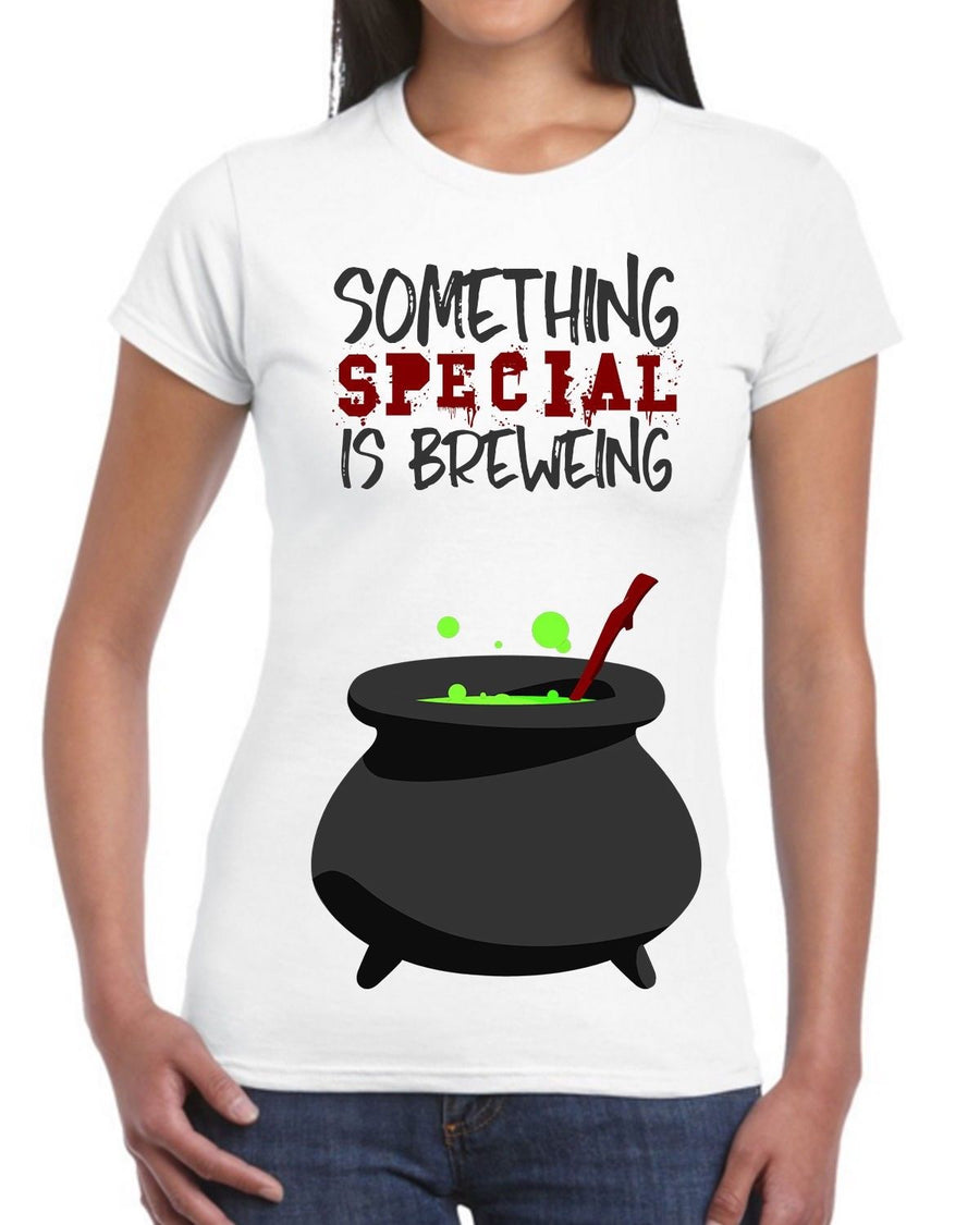 Something Special Is Brweing White Halloween T Shirt Pregnancy Birth Mum Witch