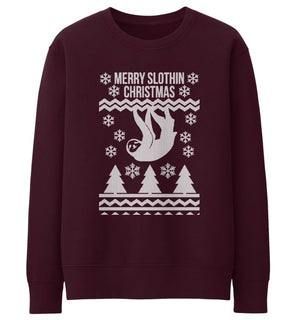 Merry Slothin Christmas Sweater Jumper Xmas Sloth Funny Lazy Present Gift Girl