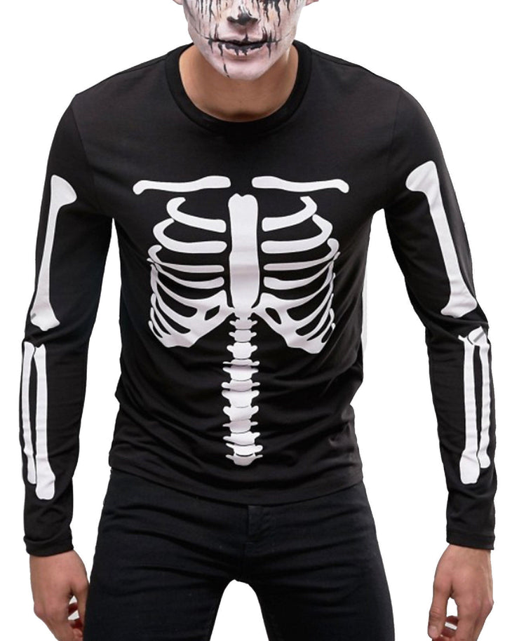Skeleton Fancy Dress Long Sleeve Halloween T Shirt Mens Women ARMS BODY Party H4