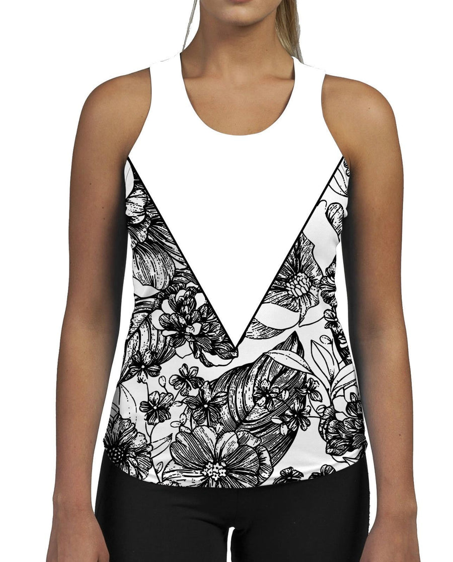 Floral Triangle WOMENS GYM TANK Top Vest Ladies Fitness Muscles Slogan Flower