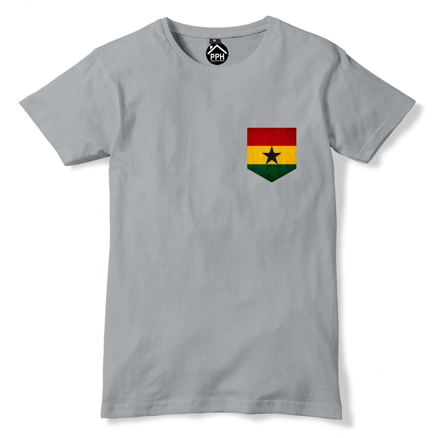 Vintage Print Pocket Ghana Flag Tshirt Football Africa Nations Fans T Shirt 317