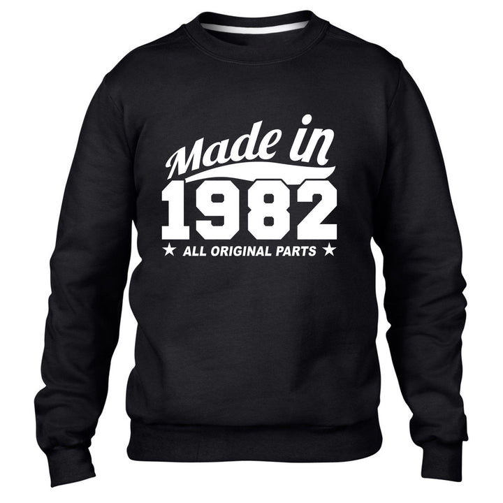 MADE IN 1982 ALL ORIGINAL PARTS SWEATER MENS WOMENS FUN PRESENT COOL BIRTHDAY
