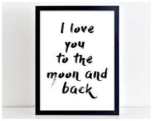 Love to Moon and Back Family Poster Print Typography Home Picture Frame Art PP52