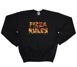 Pizza Rules Sweatershirt Sweater Mens Womens Baggy Jumper Cool Funny