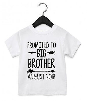 Promoted To Big Brother CUSTOM DATE T Shirt Toddler Baby Announcement EM239