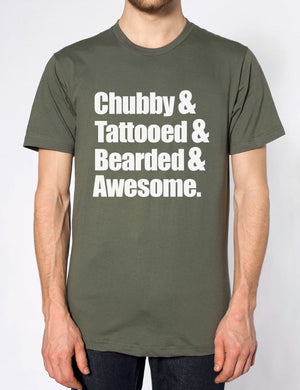 Chubby Tattooed Beard Awesome Tshirt Womens Top T Shirt Novelty Beard Hipster