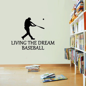 Baseball Living The Dream Bat Sports Wall Sticker Vinyl Print Decal Art Wall