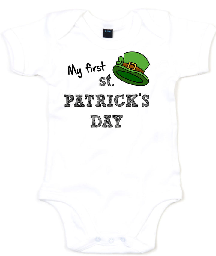 My First St Patricks Day Babygrow GREEN GLITTER print Boy Girl Clothing L192