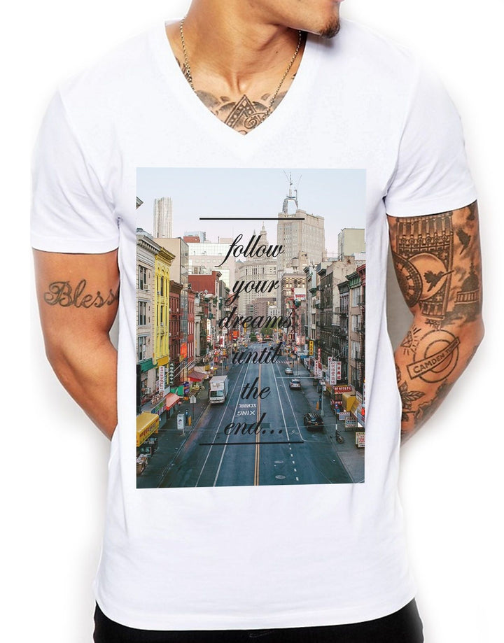 Follow Your Dreams Distinkt Youth V Neck t Shirt Top Mens Muscle Fit Summer EDY1