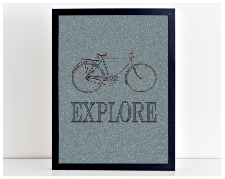 Explore Vintage Bicycle Bike Motivation Photo Print Office Poster Picture PP106