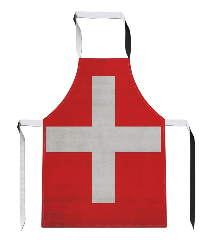 Vintage Switzerland Country Flag Luxury Novelty APRON Kitchen Tabard Linen Ski